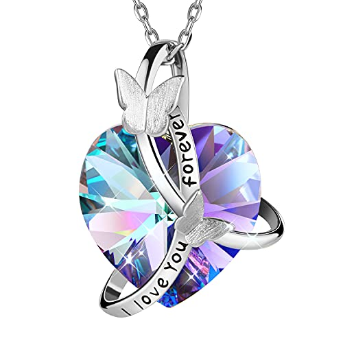 Pinsparkle Butterfly Crystal Necklaces Love Heart Birthstone Pendant Necklaces For Women - I Love You Forever Pendant Gifts For Her Women Girls Mom Wife Sister Birthday Mother's Day Anniversary