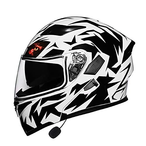 Modular Casco de Moto Bluetooth, Casco de Motocicleta Integrado con Doble Visera para Motocicleta Scooter, ECE Homologado Casco de Moto para Adultos (Color : C, Size : (L/59-60CM))