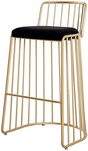 JYHQ Taburete de bar con barra de metal de altura con asiento de terciopelo tapizado de diseño de línea simple resistente para pub, cafetería, cocina, restaurante