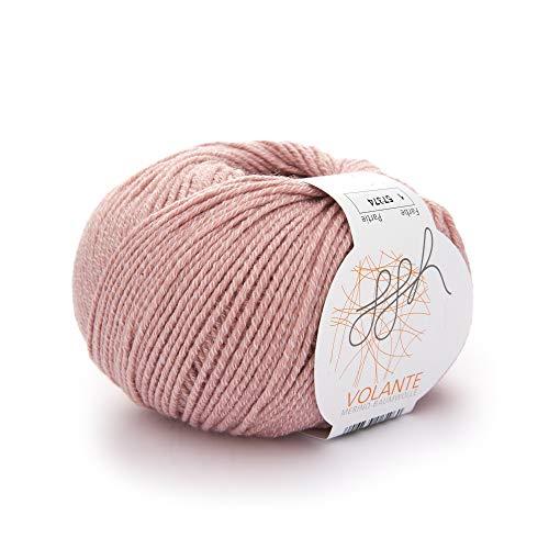 ggh Volante, Farbe:001 - Altrosa, Merinowolle, Baumwolle Mischung, 50g Wolle als Knäuel, Lauflänge ca.130m, Verbrauch 450g, Nadelstärke 3,5-4,5, Wolle zum Stricken und Häkeln