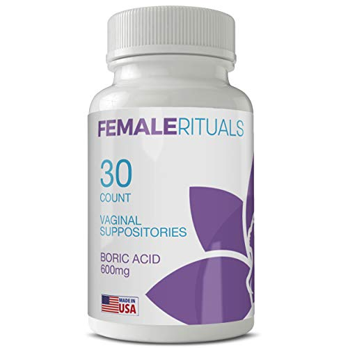Female Rituals Boric Acid Suppositories 600 mg - Vaginal Pills for Vagina PH Balance, Odors and Yeast Infection Treatment - USA Made Feminine Hygiene Products - Vaginal Suppository Tablets (30 Count)