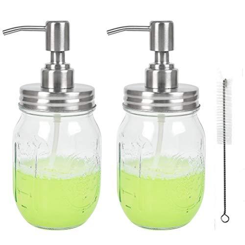 TIMESETL 2er Einmachglas Seifenspender Glasspender 300ML Nachfüllbar Seifendosierer Leer Kunststoff Flasche mit Edelstahl Pumpe Spender Ideal für Badspender, Öl Lotionen Shampoo Flüssigseifen