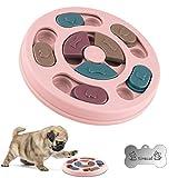 Cani Puzzle Giocattolo con mangiatoia lenta, Giocattolo per Dispenser di Cibo per Cani Alimentatore per Giochi di addestramento per Cani con Antiscivolo migliorano Il Qi, Ciotola Puzzle per Cane Rosa