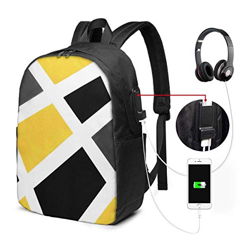 Lawenp Geometric Yellow Gray Black White Travel Laptop Backpack,Business Anti Theft Slim Durable with USB Charging Port, College School Computer Bag Bookbag Casual Hiking Daypack for Women Men