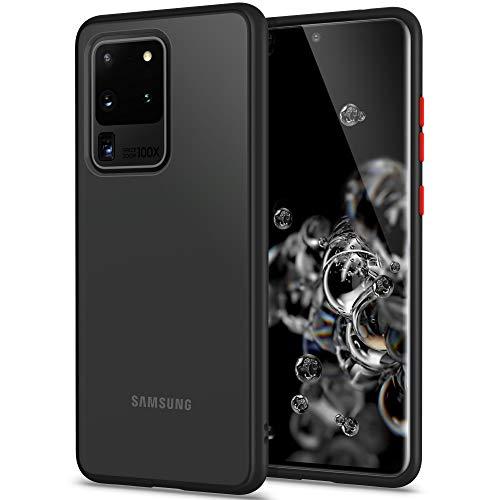 YATWIN Funda Samsung Galaxy S20 Ultra 5G, Funda Protectora Parte Posterior de PC Dura Translúcida Mate, Botones Coloridos, Topes Flexible de TPU para Carcasa Samsung S20 Ultra 5G 6.9''- Negro Clasico