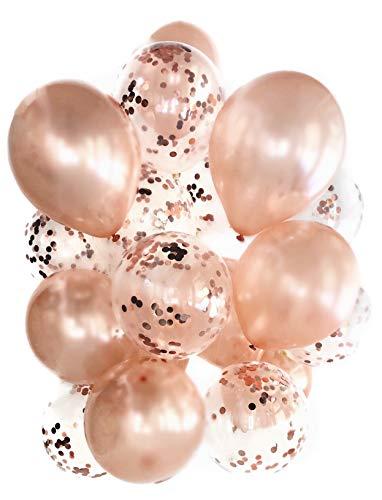Cavore Konfetti Luftballon Set in Rosegold metallic – 20 Stück – Partydeko Ballons für Geburtstag, JGA, Taufe, Hochzeit, Baby-Shower
