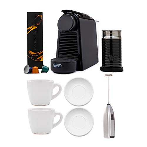 Nespresso Essenza Mini Original Espresso with Aeroccino Milk Frother, Handheld Milk Frother, and Espresso Cup & Saucer Bundle (3 Items)