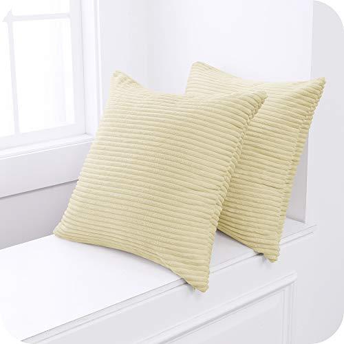 UMI Amazon Brand Fundas para Cojin Decorativas Cuadrado Suave 2 Piezas 45x45cm Beige