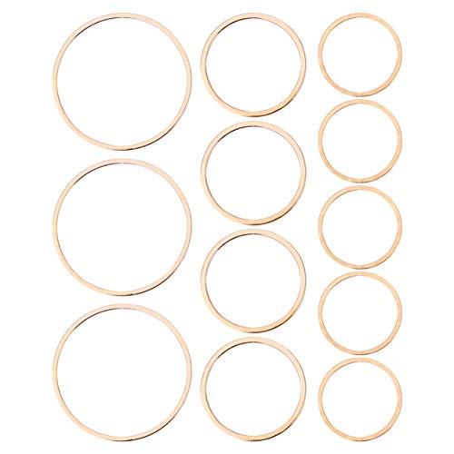 MILISTEN 60 piezas redondas pendientes crculo encantos huecos colgantes redondos de bisel abierto marco para joyera (dorado)