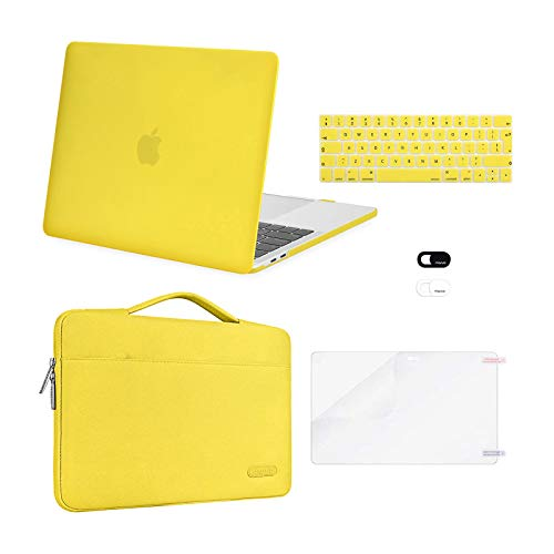 MOSISO Compatible with MacBook Pro 13 inch Case 2016-2020 Release A2338 M1 A2289 A2251 A2159 A1989 A1706 A1708, Plastic Hard Shell Case&Bag&Keyboard Skin&Webcam Cover&Screen Protector, Yellow