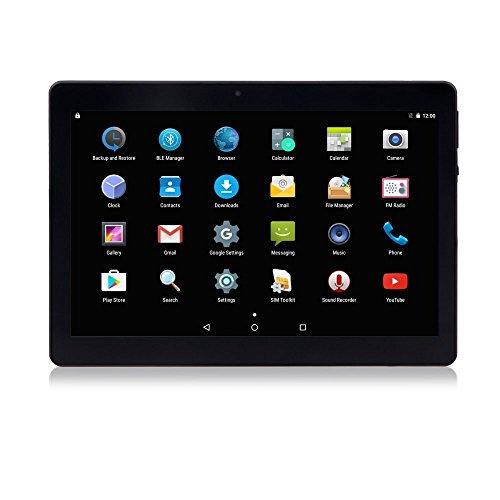 10.1 Tablet Android 7.0 Nougat, Slot per schede Dual SIM sbloccate 3G, Processore Octa-Core, DDR3 da 4 GB, Archiviazione da 64 GB (Nero)