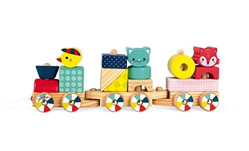 Janod - Baby Forest - Tren de Madera, Juguete de Arrastre, 17Bloques Incluidos, Aprendizaje de las Formas y Los Colores, Desarrollo de La Motricidad Fina - Desde 1Año, J08022 (Juguete)