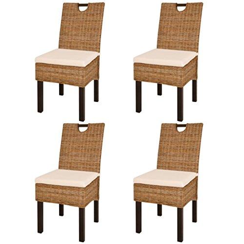 vidaXL 4x Sillas de Salón Comedor Asientos Sillones Mobiliario de Hogar Muebles Casa de Ratán Kubi y Madera de Mango Color Natural Tipo Mimbre