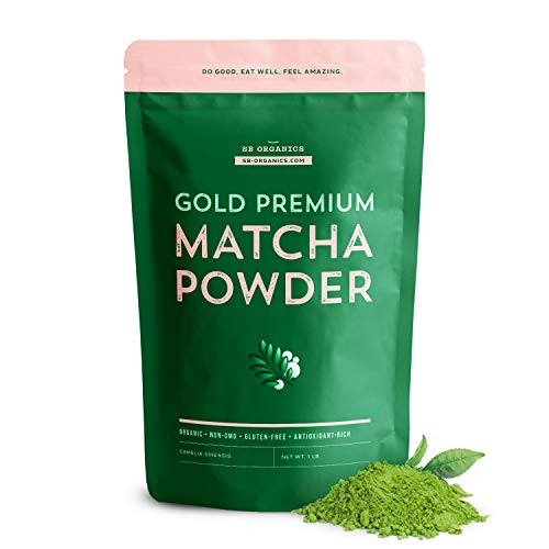 SB Organics Matcha Green Tea Gold Premium Powder - USDA Organic Non-GMO Classic Standard Culinary Ground Powder for Baking, Smoothies, Coffee, Tea - 16 oz