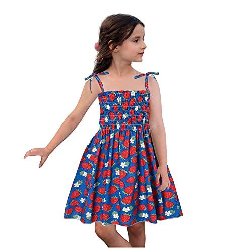 BIBOKAOKE Mädchen Kleid Koreanisch Bowknot Sling Kleidung Plissiert Blumenkleid Süßes Prinzessinkleid Fashion Little Girls Minikleid Urlaub Strandkleid Off Shoulder Kleider Gr.1-6 Jahre