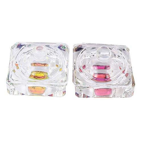 FRCOLOR 2 Piezas Nail Dappen Plato Cristal Manicura Copa de Cristal con Tapa Recipiente de Polvo Líquido Acrílico Transparente (Rectángulo)