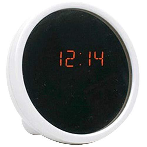 JZUO Multi función despertador electrónico mini escritorio reloj espejo superficie led reloj noche luz mujeres mujer maquillaje espejo