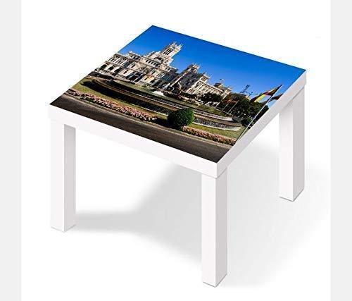 Möbelaufkleber für Ikea Lack Tisch 55x55cm Madrid Spanien Skyline Cibeles Brunnen Aufkleber Klebefolie Möbelfolie Folie (Ohne Möbel) 25W2810