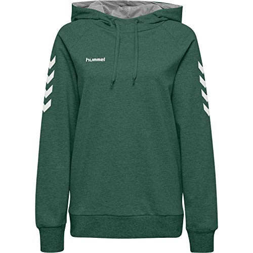 Hummel Damen Kapuzenpullover Go Cotton Hoodie Woman 203510 Evergreen M
