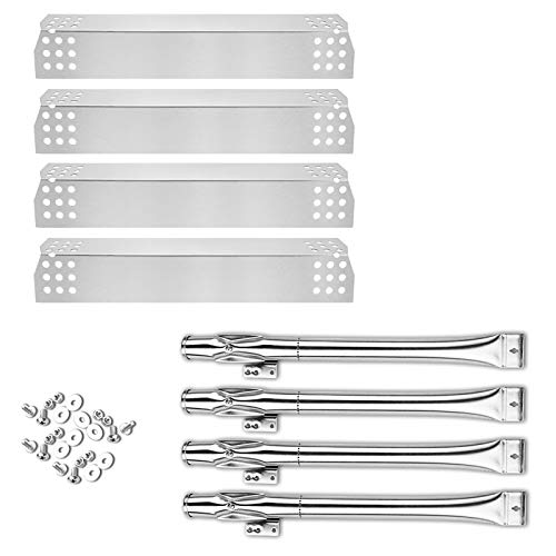 Uniflasy Grill Burner and Heat Plates Shield Replacement Parts Kit for Home Depot Nexgrill 720-0830H, 720-0830D, 4 Pack Stainless Steel Grill Burner Tubes Pipe and Burner Cover
