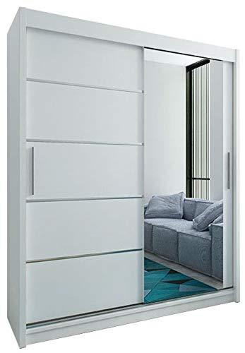 Kryspol Schwebetürenschrank Verona 2-180 cm mit Spiegel Kleiderschrank mit Kleiderstange und Einlegeboden Schlafzimmer- Wohnzimmerschrank Schiebetüren Modern Design (Weiß)