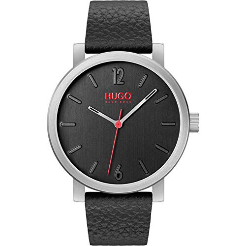 HUGO Herren Analog Quarz Armbanduhr mit Lederarmband 1530115