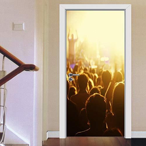 AKSBHC Etiqueta engomada del arte de la puerta 3D 90x200CM Concierto luces multitud vítores Dormitorio puerta mural sala de estar baño cocina baño pegatina bebé recién nacido decoración interior bebé