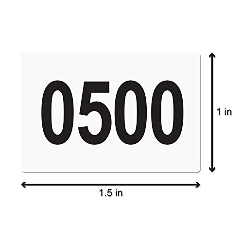 """Consecutive Number Labels Self Adhesive Stickers""""0501 to 1000"""" (White Black / 1.5 x 1 Inch) - 500 Labels Per Pack Photo #2"""