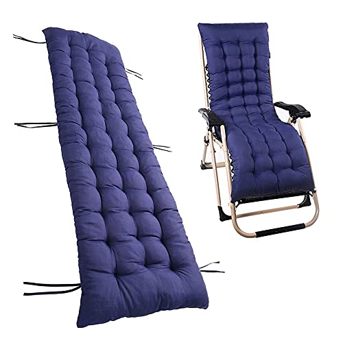Auflagen für Gartenliegen Gartenstuhlauflage Polster für Relaxstühle Hochlehner Liegenauflagen Liegestuhl Auflage Gartenmöbel Kissen Relaxliege 160x48 cm Waschbar (Navy Blau)