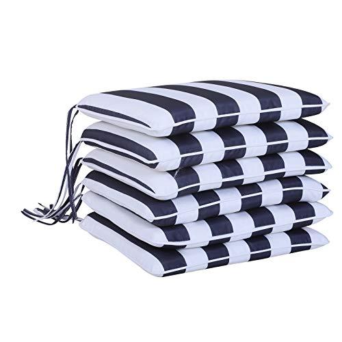 Outsunny 6er-Set Sitzkissen Stuhlkissen Bodenkissen Polsterkissen Sitzauflage abnehmbar Bezug Polyester + Baumwollfaser Blau + Weiß 42 x 42 x 5 cm