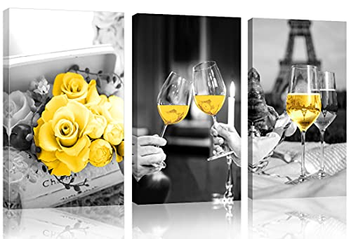 Yellow Kitchen Decor Yellow Rose Kitchen Wall Art Dining Room Decor Wine Glass Kitchen Wall Decor Black and White Canvas Wall Art Paintings Prints Pictures Framed Artwork for Home Kitchen Decorations
