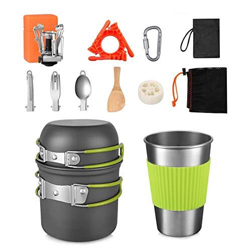 Gidenfly - Kit de 13 piezas portátil de mochila para exteriores portátil para 1-2 personas con maceta sin palo y mini frigorífico para picnic, trekking y senderismo