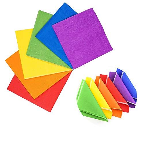Tovaglioli di carta colorati, 120 pezzi Rainbow Tovaglioli da cocktail a 2 veli per feste e compleanno e matrimonio decorazioni, rosso/arancione/verde/giallo/viola/blu reale - 5 * 5 pollici