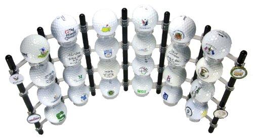 24 Ball Flexible Golf Ball Display Rack & Ball Marker Display (Black)