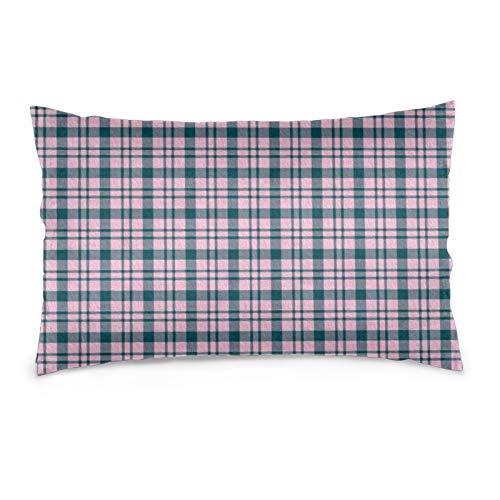 Funda de almohada con diseño de cuadros en color aguamarina, rosa pastel y gris aguamarina, decorativa, suave y acogedor, tamaño Queen estándar, 50,8 x 76,2 cm, con cremallera oculta.