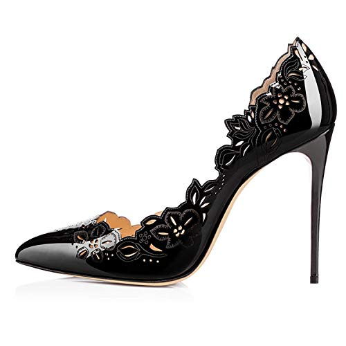 WLQWER Mujeres clásicas Puntiagudas Tacones Altos Sexy Stiletto Pumps Office Lady Casual Dress Party Shoes,Negro,37