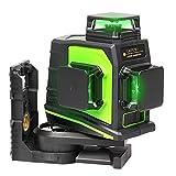 Huepar 3x360° レーザー墨出し器 グリーン 緑色 レーザー クロスライン 大矩 フルライン照射モデル 自動補正 2電源方式 USB充電可能 受光器対応 GF360G