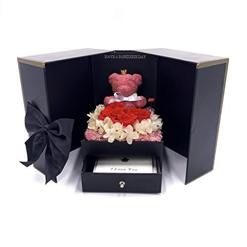 TRIPLE K - Rosenbox mit ewige Rosen, konservierte Infinity Rosen 3 Jahre haltbar (inkl. Grußkarte & Tragetasche) Überraschungsbox als Geschenk für Valentinstag/Jahrestag/Geburtstag