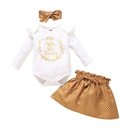 FYMNSI Conjunto de verano para bebé, de manga corta, con volantes, pelele + pantalones cortos + cinta para la cabeza, 3 piezas, para 0 – 18 meses Set de falda blanca. 3-6 Meses