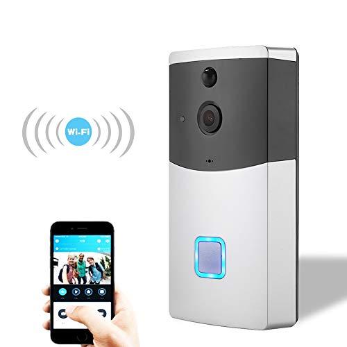 Video deurbel, 720P HD wireless beveiligings-IP-camera met intercomsysteem, nachtzicht, PIR-bewegingsdetectie en app-besturing voor iOS en Android