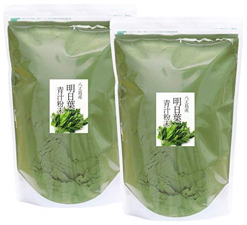 自然健康社 八丈島産・明日葉青汁粉末 1kg×2個 チャック付き袋入り