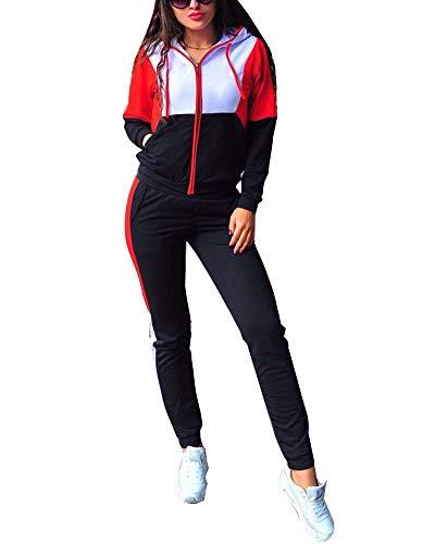 Minetom Damen Mode Trainingsanzug Frauen Sportanzug Farbnähte Hoodie mit Kapuze Lange Ärmel Zipper Top + Lange Hose Jogginganzug Sportswear 2 Stück Set Sport Yoga Outfit (36, A Schwarz)