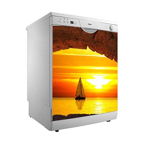 Vinilo para Lavavajillas Velero Puesta de Sol | Varias Medidas 50 x 65 cm | Adhesivo Resistente y de Fácil Aplicación | Pegatina Adhesiva Decorativa de Diseño Elegante