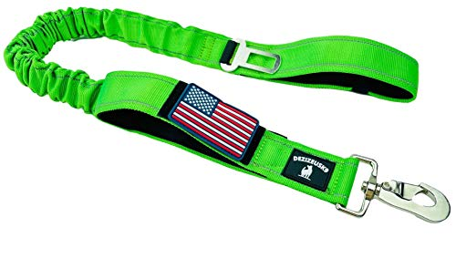Tactical Bungee K9 Dog Leash - 1.5' INCH Wide Dog LEASHES for XL Dogs Heavy Duty Nylon Elastic Stretch Shock Absorbing Military Dogs Training LEASHES with Removable American Flag Patch (Green, Solid)