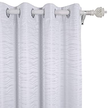 Deconovo Stripe Jacquard Total Blackout Curtains with Triple-Pass White Coating Back Layer Thermal Insulated Curtains for Bedroom White 2 Panels 52 X 45 inch