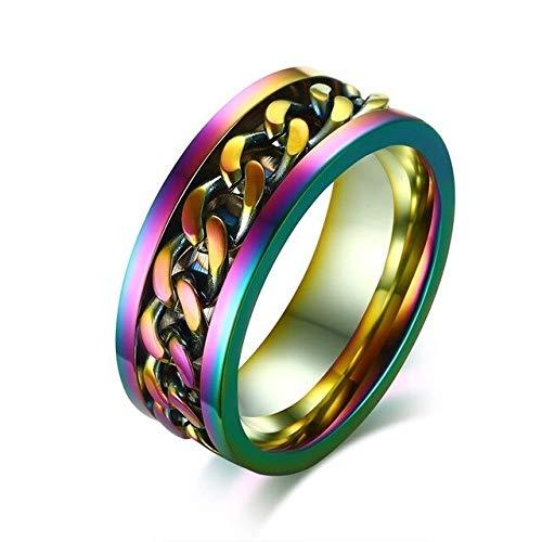 CHCO 8Mm Spinner Ring pour Hommes en Acier Inoxydable Cuba Chaîne De Mariage Hommes Anti Stress Bijoux 12 Arc-en-Ciel