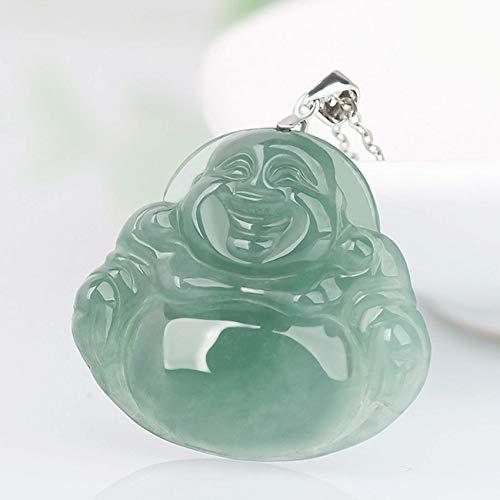 Pulsera, Collar con Colgante de Jade de Riqueza Mujer JadeíTa Natural Laughing Buddha Maitreya Colgante de Buda Jade de Hielo Broche de Clip de Plata El Amuleto de Cadena de Plata Atrae La Riqueza