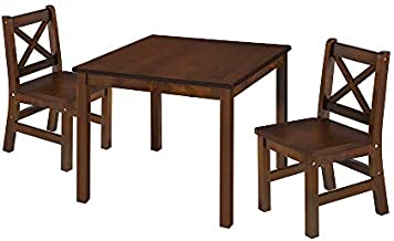 eHemco Kids Table and Chairs Set Solid Hard Wood with X Back Chairs (3, Coffee)