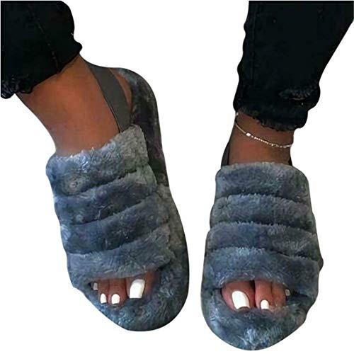 EVR Zapatillas Planas de Verano para Mujer Zapatillas de Pelo de Piel de Zorro sintética Ultra Suaves, Zapatillas de Felpa esponjosas para Mujer en Chanclas,03,41