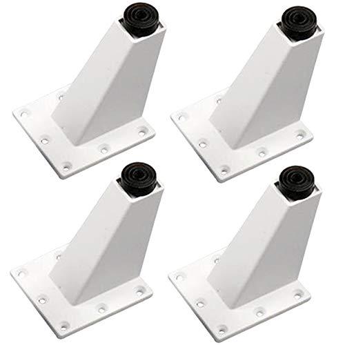 Yyuezhi Verstelbare meubelpoten van aluminium sofa poten driehoek meubelpoten, kasten meubelpoten, keuken voeten aanrecht/ontbijt bar/bureau tafelpoten meubelpoten set van 4 (zwart/wit) wit